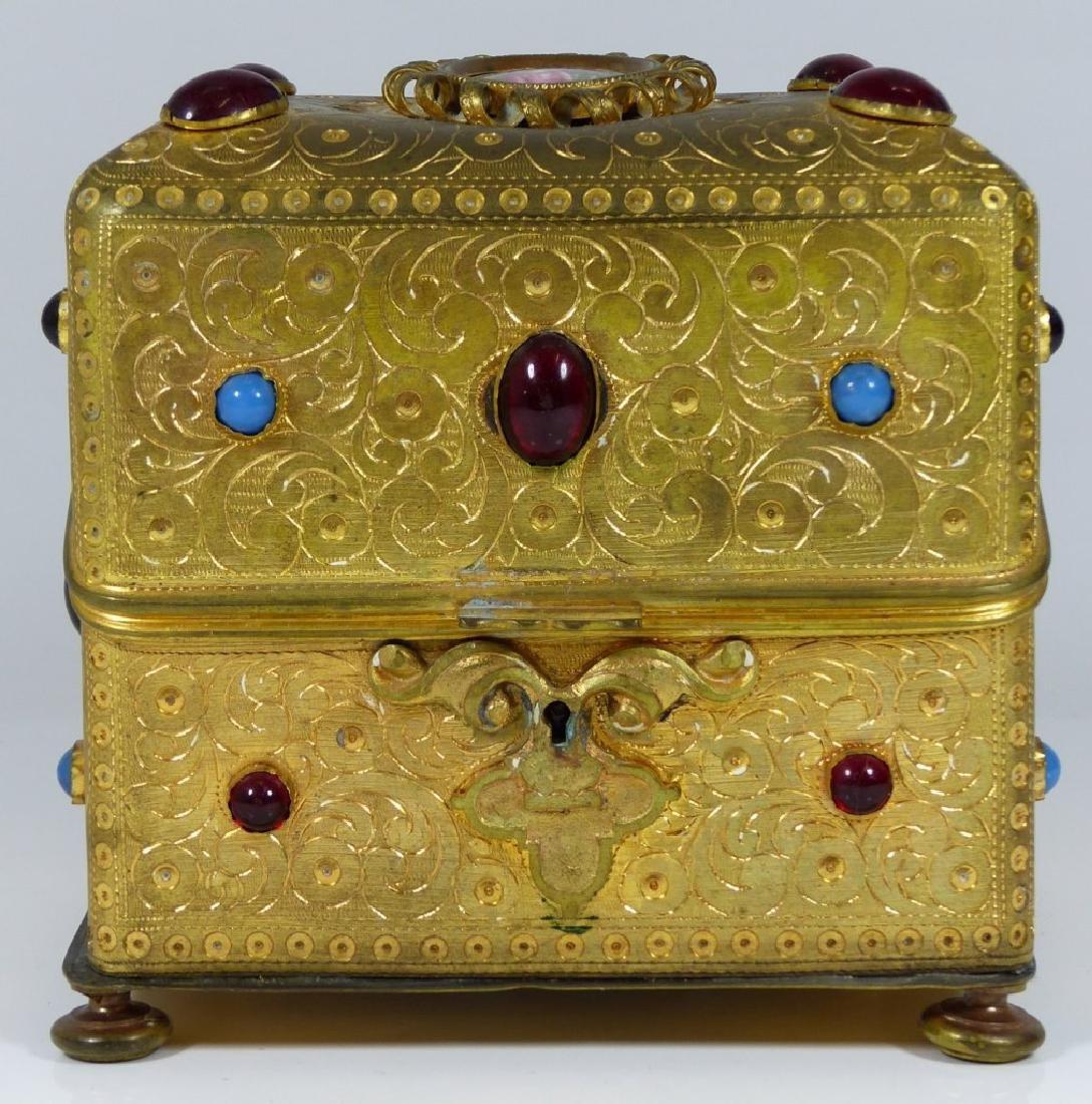 CONTINENTAL ORMOLU JEWELED BOX w PORCELAIN PLAQUE - 2