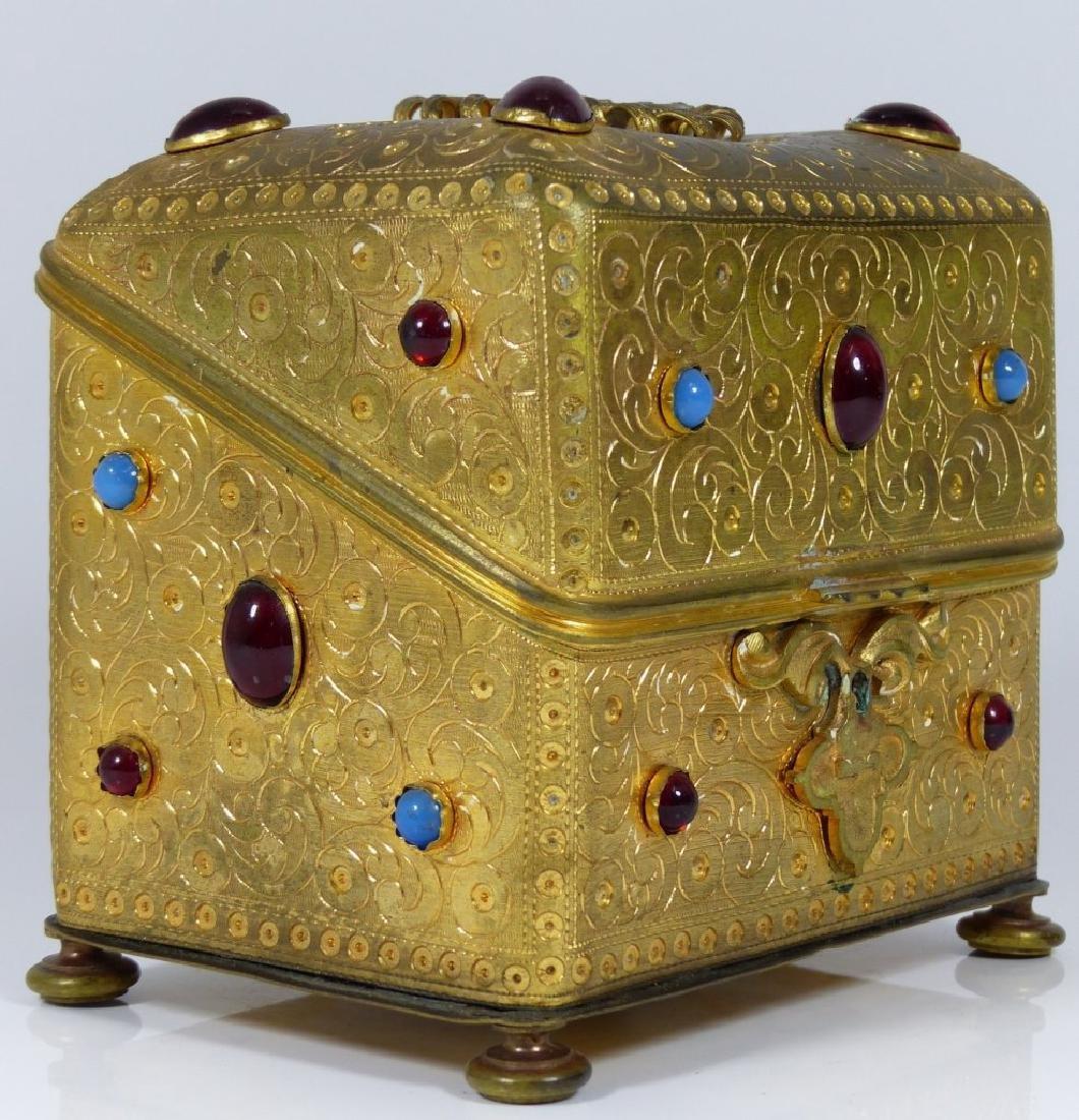 CONTINENTAL ORMOLU JEWELED BOX w PORCELAIN PLAQUE - 3