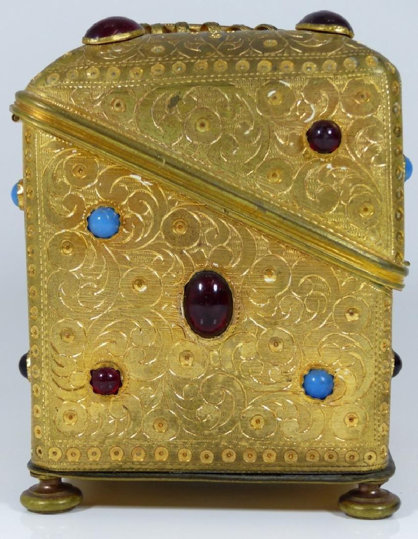 CONTINENTAL ORMOLU JEWELED BOX w PORCELAIN PLAQUE - 4