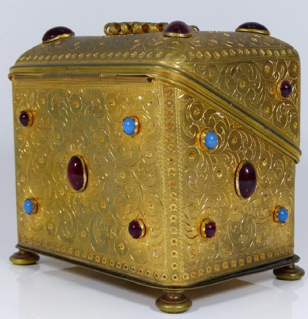 CONTINENTAL ORMOLU JEWELED BOX w PORCELAIN PLAQUE - 5