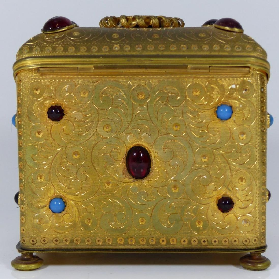 CONTINENTAL ORMOLU JEWELED BOX w PORCELAIN PLAQUE - 6