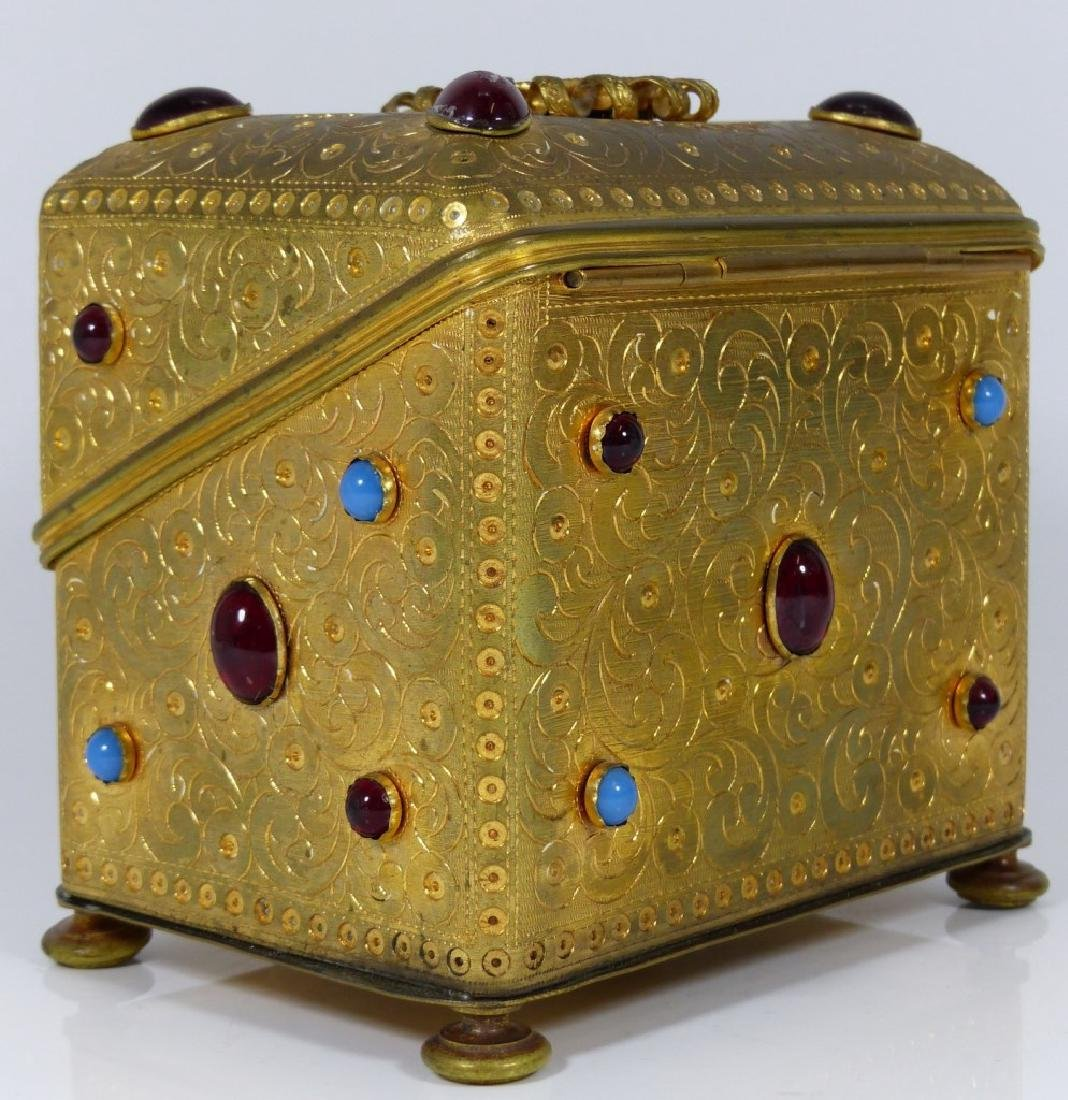 CONTINENTAL ORMOLU JEWELED BOX w PORCELAIN PLAQUE - 7