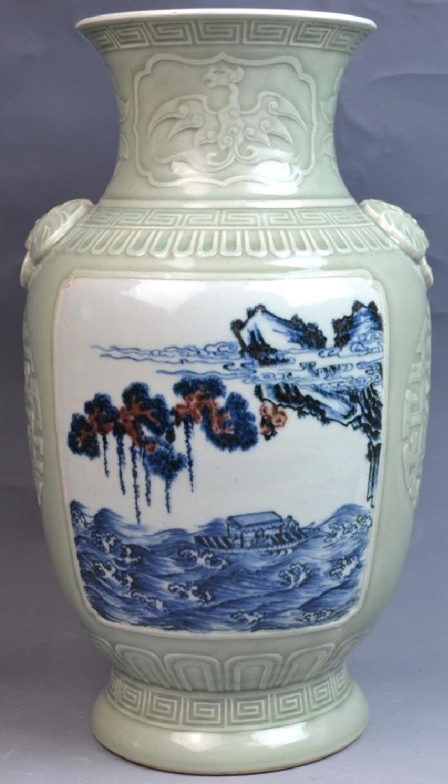 18th C CHINESE CELADON BLUE WHITE COPPER-RED VASE