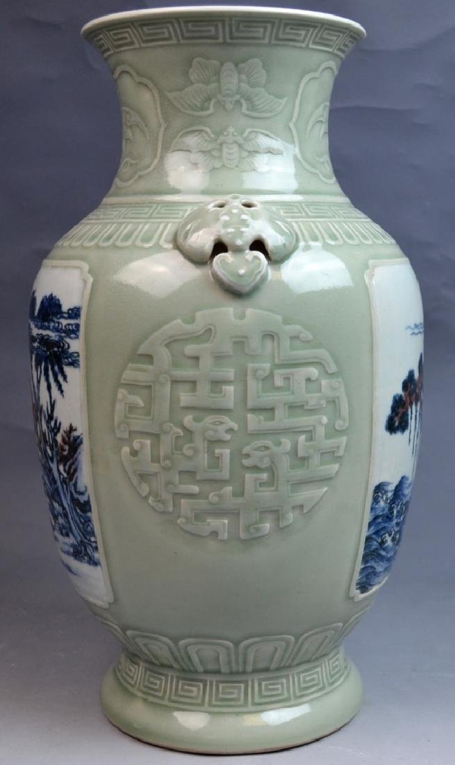 18th C CHINESE CELADON BLUE WHITE COPPER-RED VASE - 8