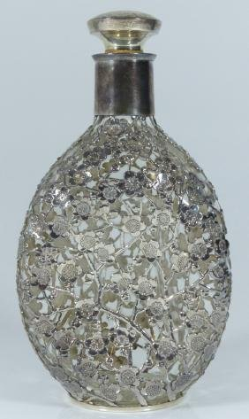 JAPANESE 950 SILVER & GLASS PINCH BOTTLE DECANTER