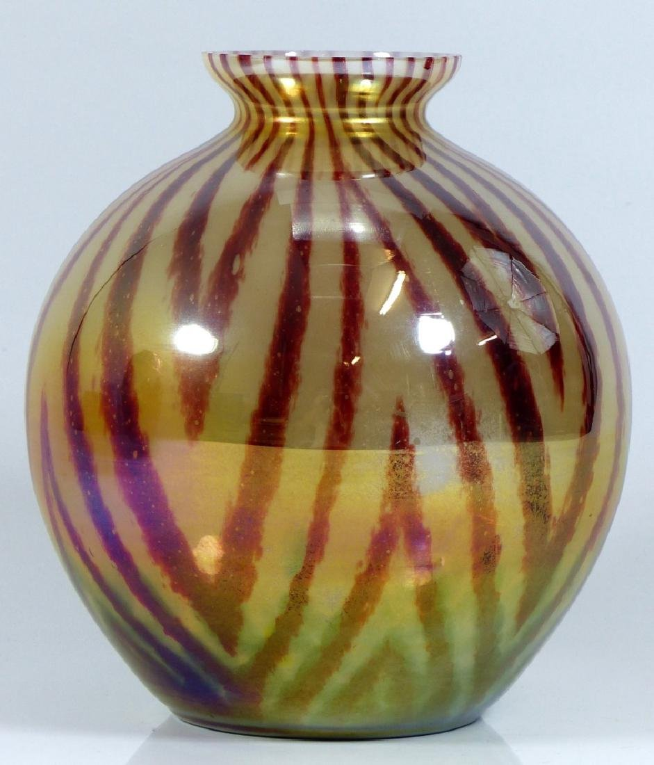 CZECHOSLOVAKIA BALL SHAPED ART GLASS VASE - 2