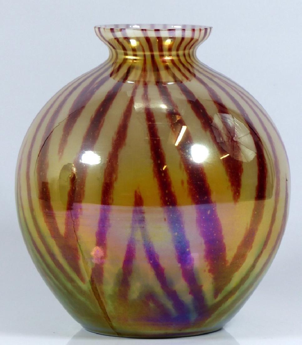CZECHOSLOVAKIA BALL SHAPED ART GLASS VASE - 3