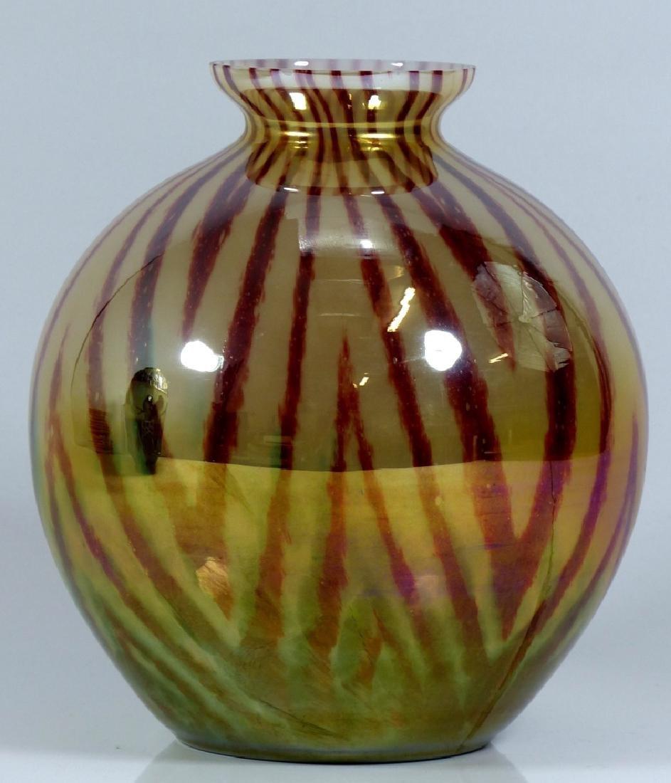 CZECHOSLOVAKIA BALL SHAPED ART GLASS VASE - 4