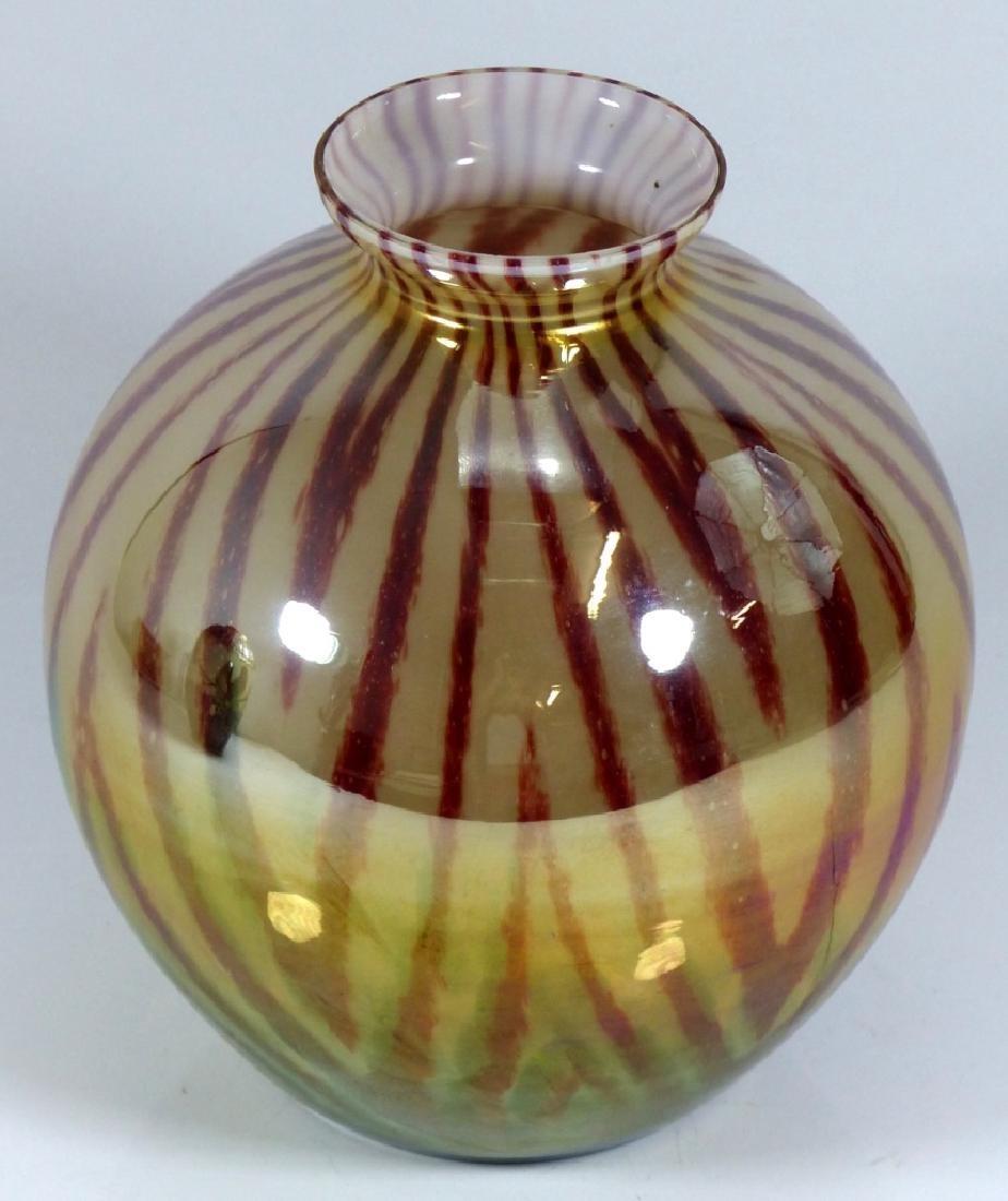 CZECHOSLOVAKIA BALL SHAPED ART GLASS VASE - 5