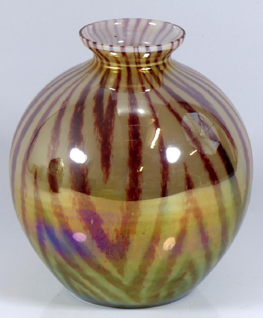 CZECHOSLOVAKIA BALL SHAPED ART GLASS VASE - 6