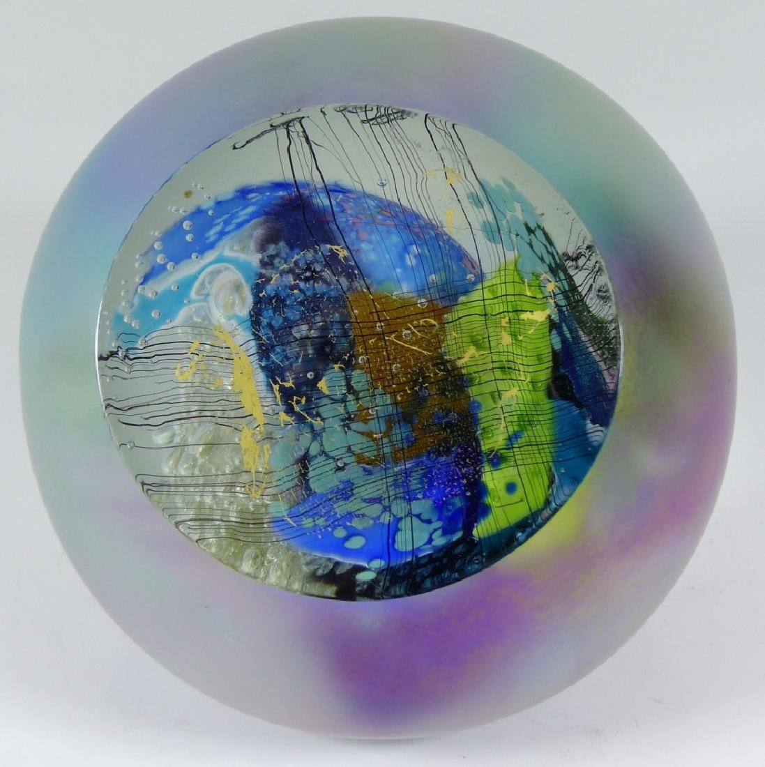 STUDIO ART GLASS PAPERWEIGHT SIGNED