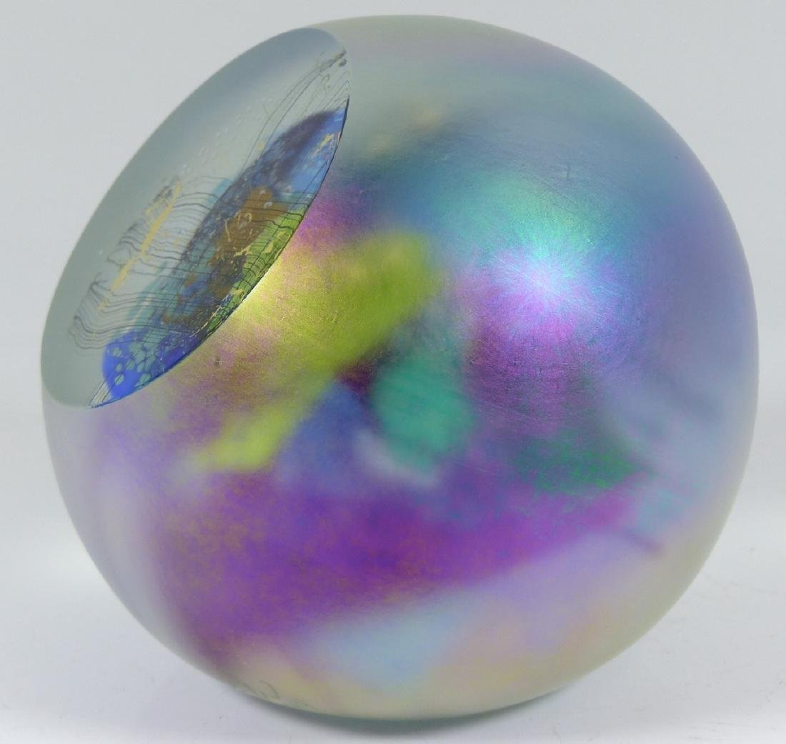 STUDIO ART GLASS PAPERWEIGHT SIGNED - 6