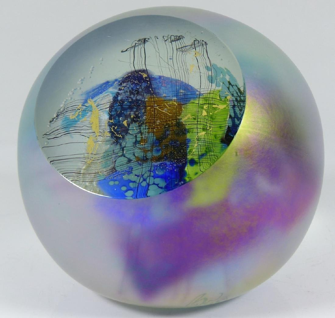 STUDIO ART GLASS PAPERWEIGHT SIGNED - 7