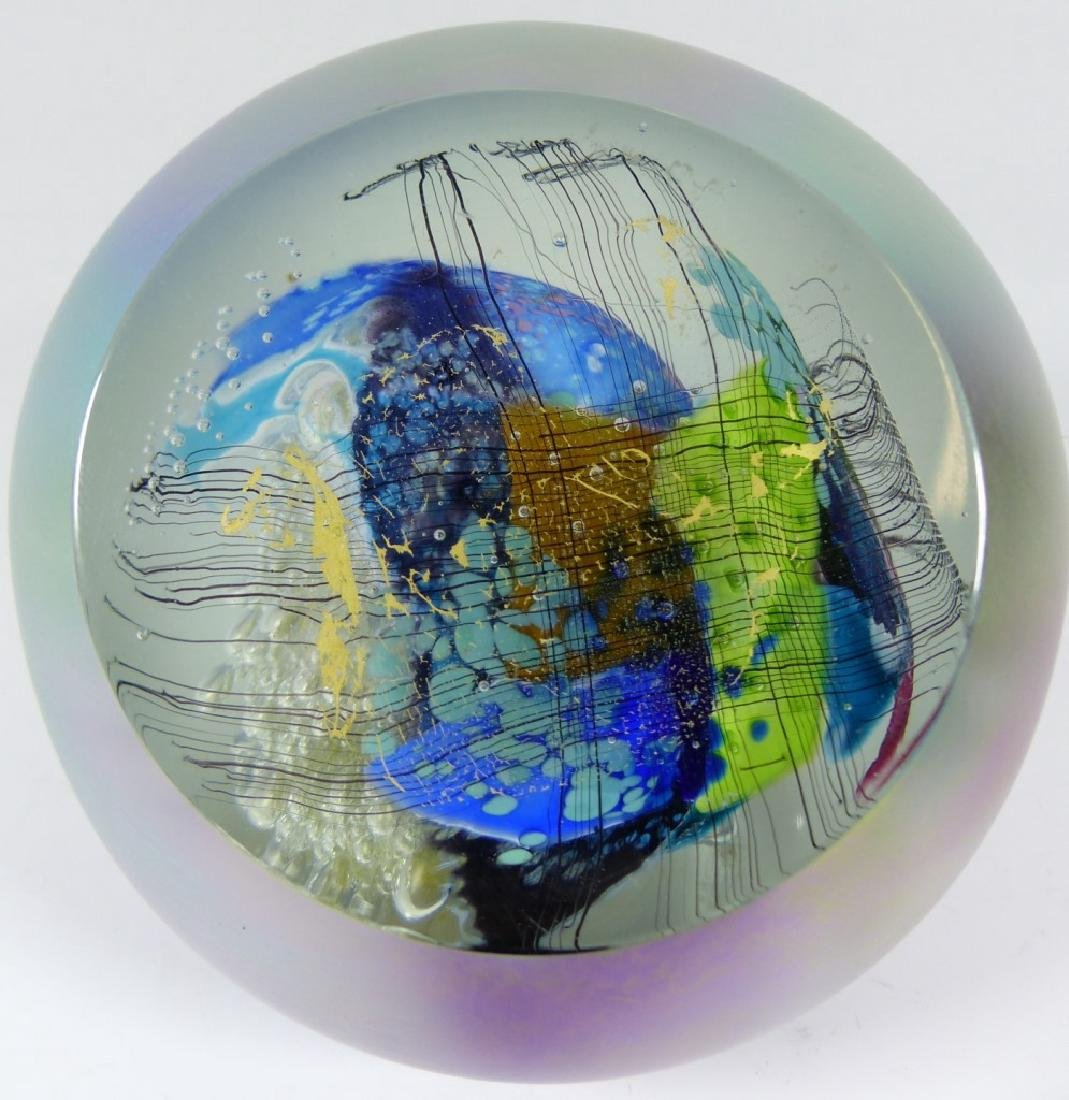 STUDIO ART GLASS PAPERWEIGHT SIGNED - 8