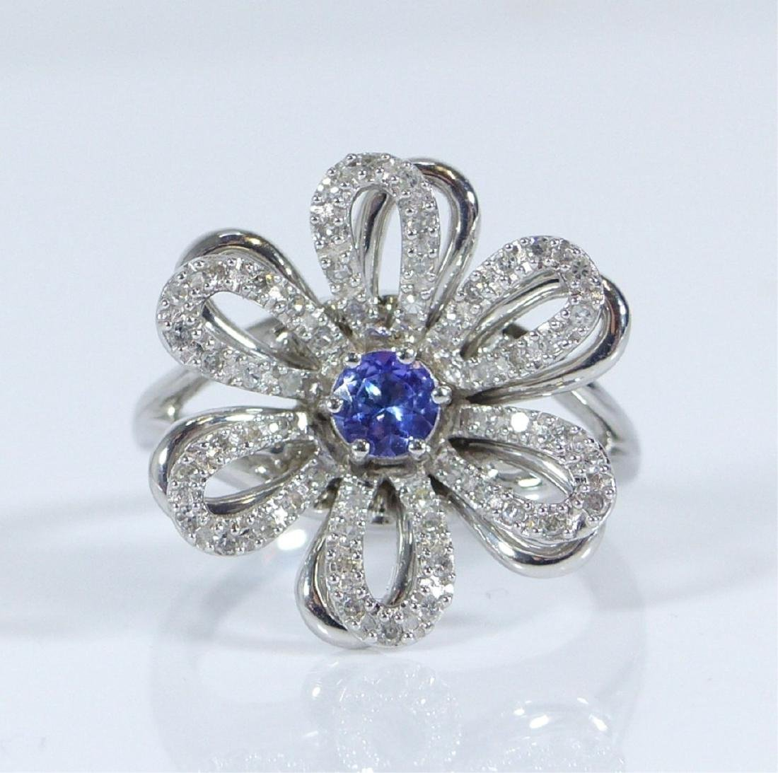 14kt WHITE GOLD TANZANITE & DIAMOND FLOWER RING
