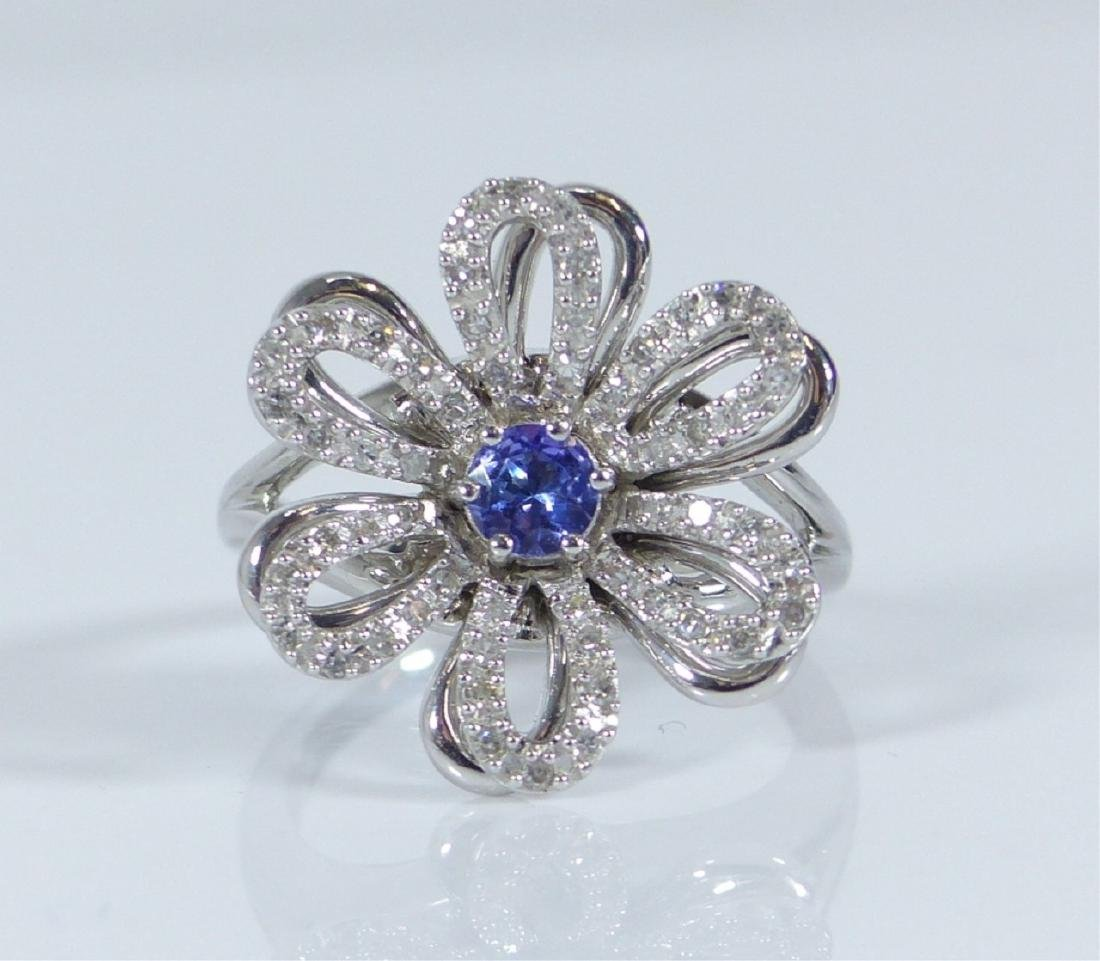 14kt WHITE GOLD TANZANITE & DIAMOND FLOWER RING - 2