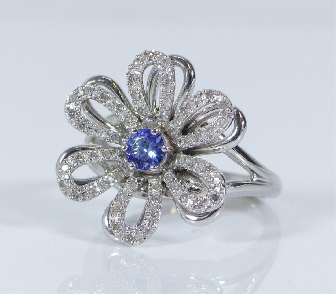14kt WHITE GOLD TANZANITE & DIAMOND FLOWER RING - 3