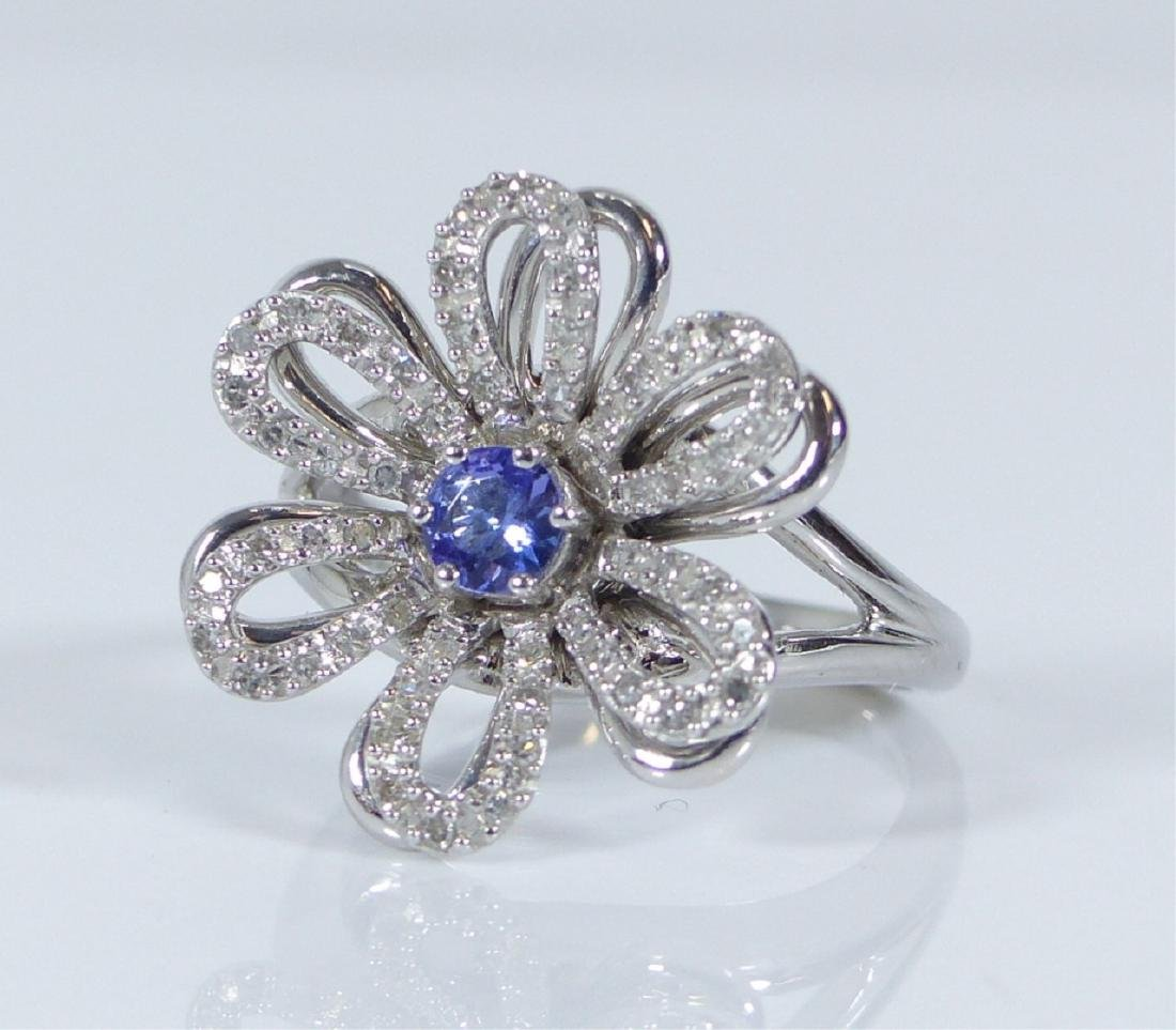 14kt WHITE GOLD TANZANITE & DIAMOND FLOWER RING - 4