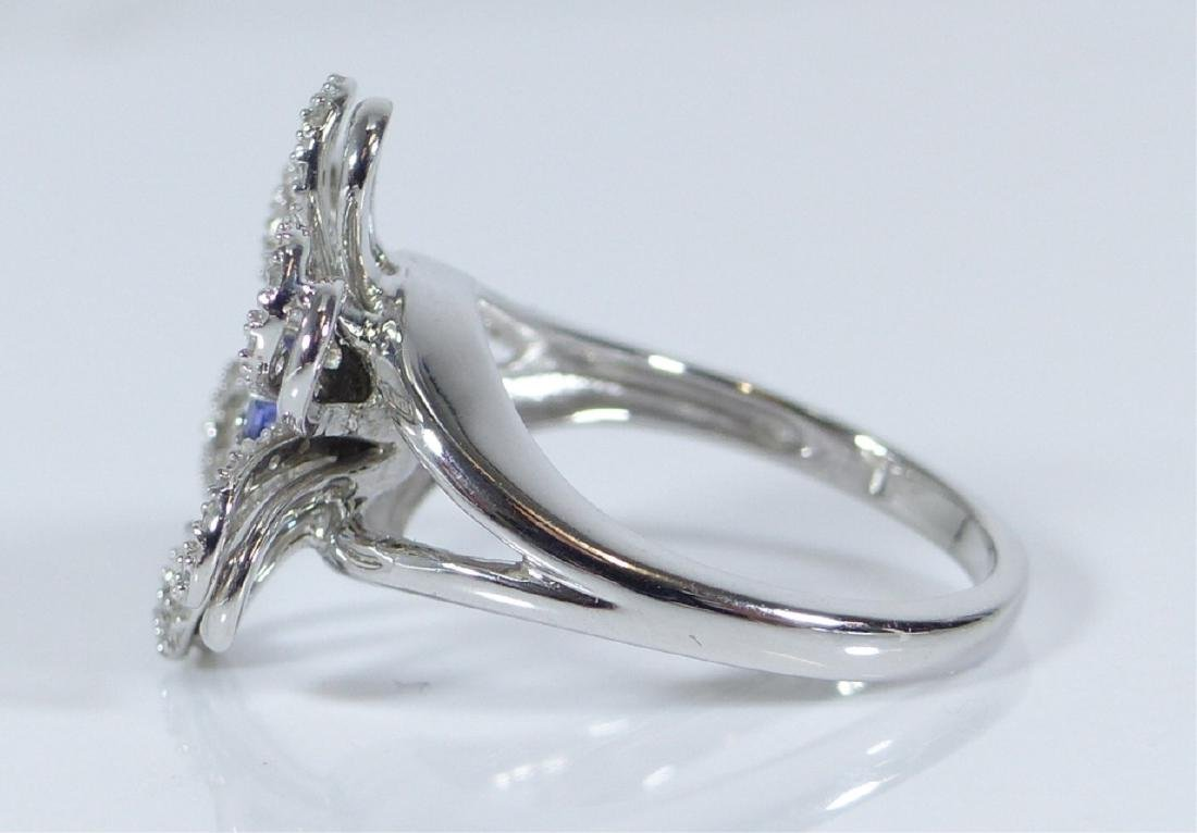 14kt WHITE GOLD TANZANITE & DIAMOND FLOWER RING - 5