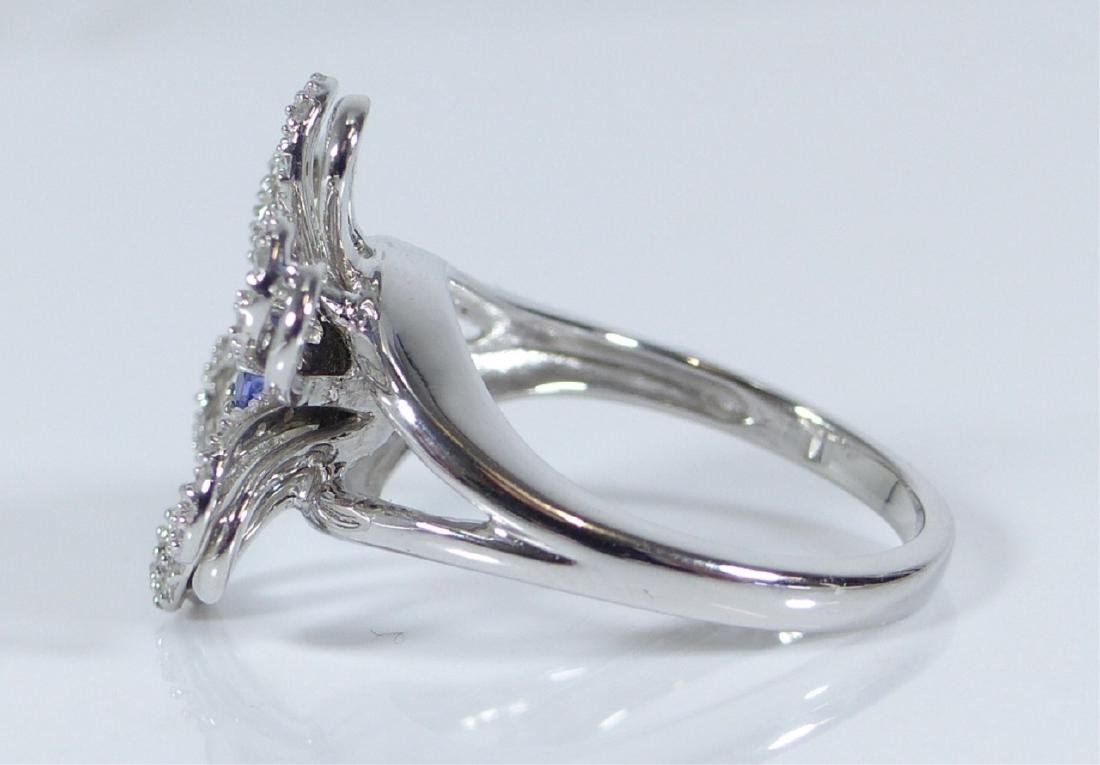 14kt WHITE GOLD TANZANITE & DIAMOND FLOWER RING - 6