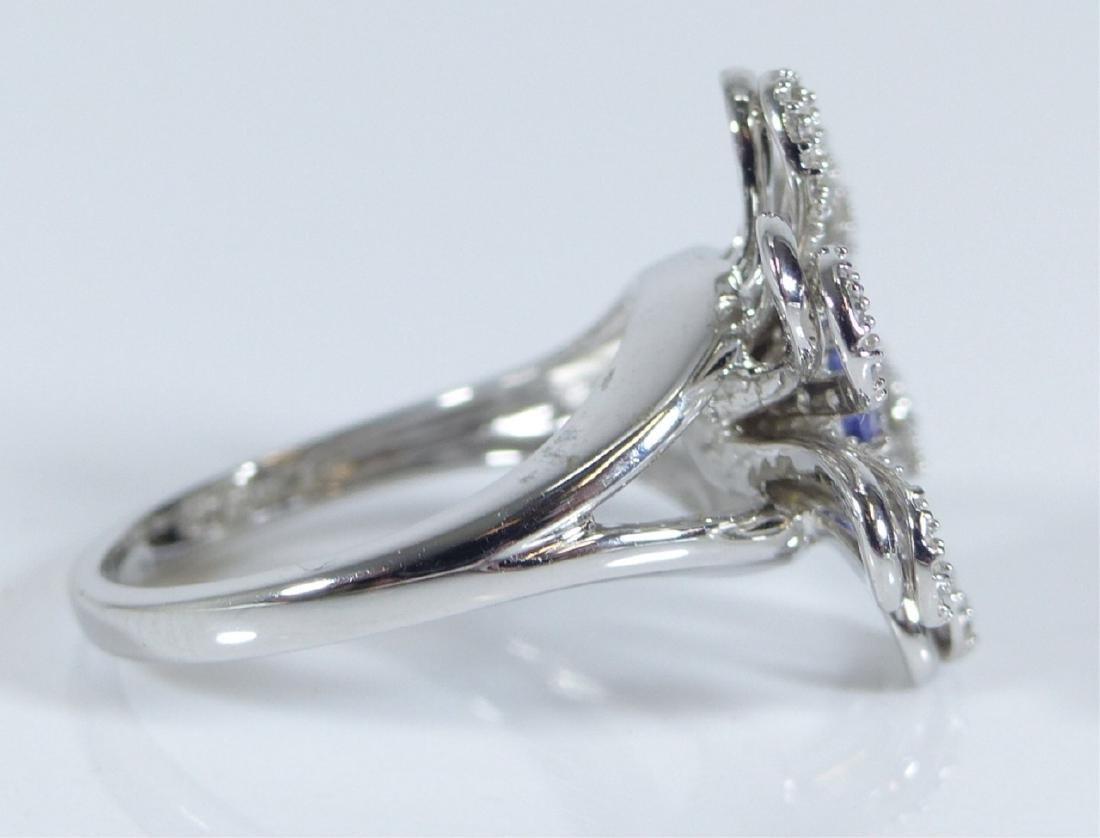 14kt WHITE GOLD TANZANITE & DIAMOND FLOWER RING - 8