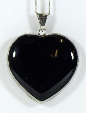 LARGE ONYX PENDANT w STERLING SILVER BOX NECKLACE