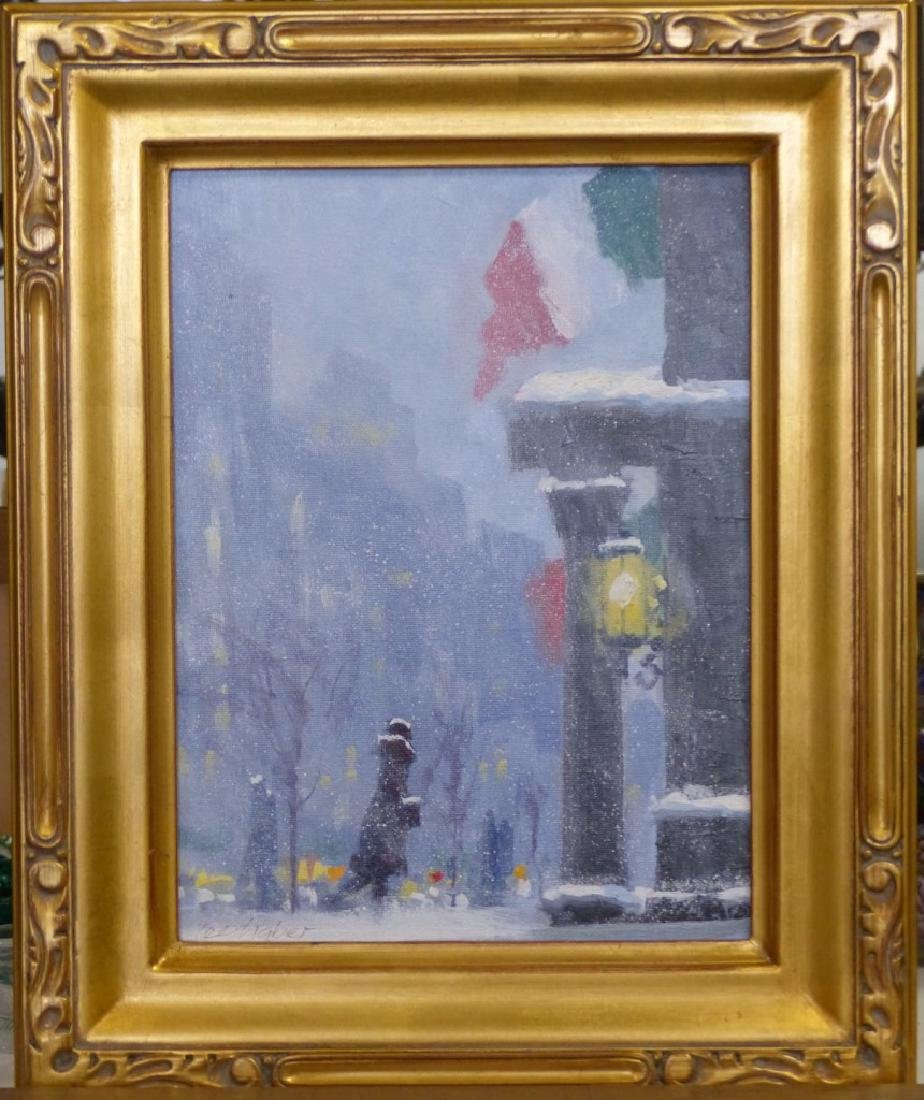 LEE HABER OIL PAINTING ON BOARD 'SNOWY MORNING'