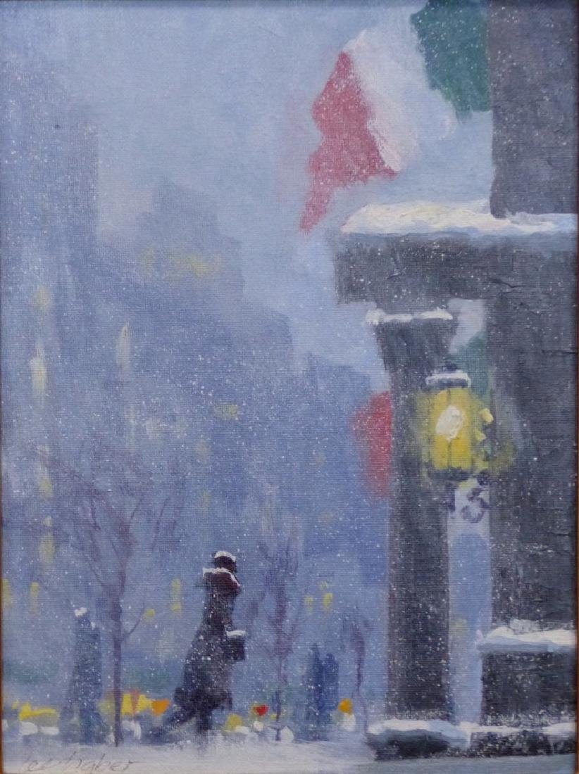 LEE HABER OIL PAINTING ON BOARD 'SNOWY MORNING' - 2