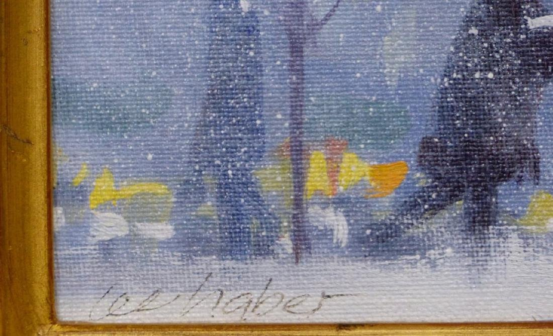 LEE HABER OIL PAINTING ON BOARD 'SNOWY MORNING' - 3