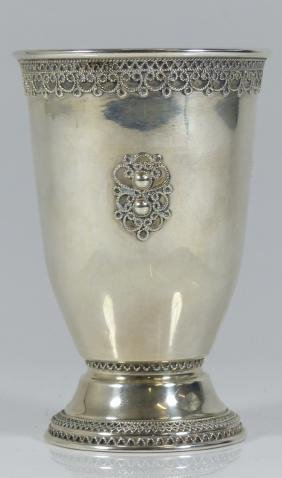 ZADOK STERLING SILVER KIDDUSH CUP w FILIGREE