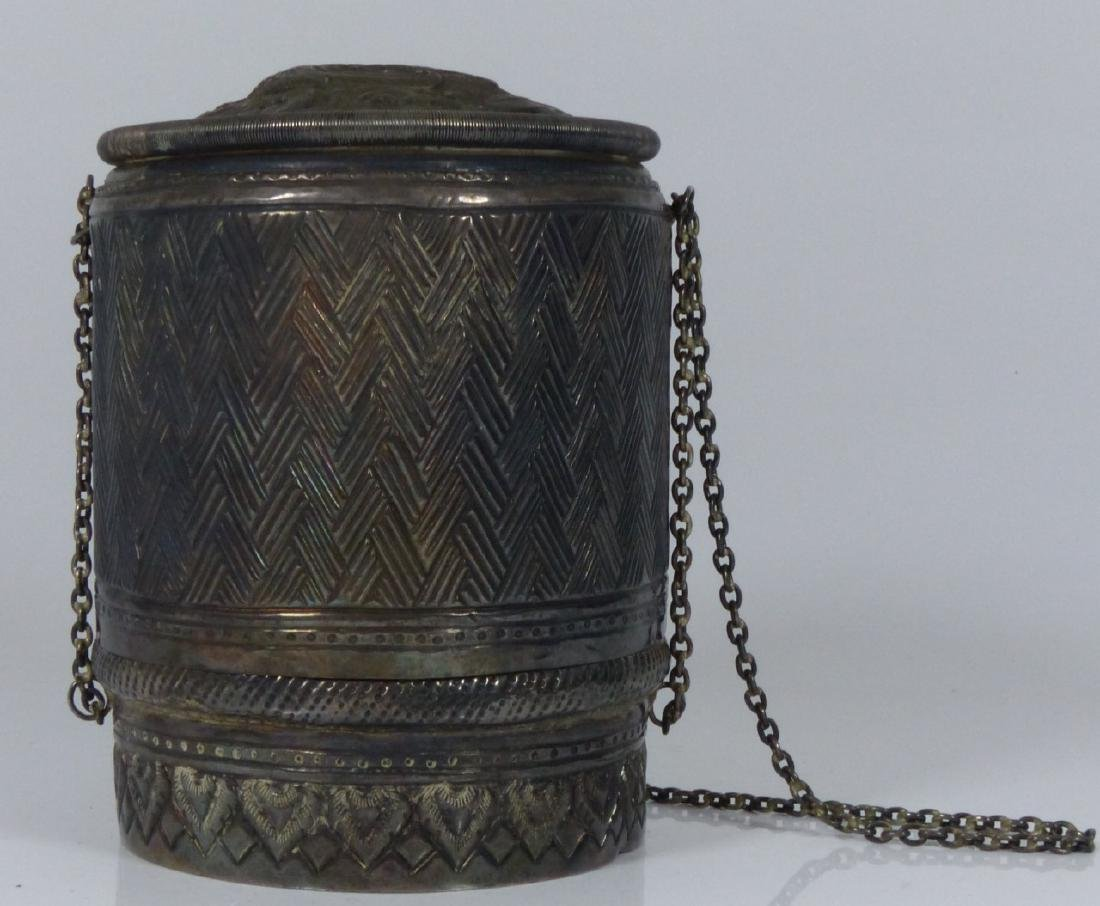 FINE THAI HAND CHASED SILVER COVERED BOX