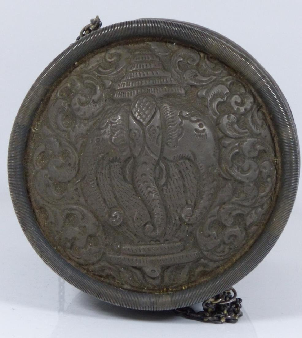 FINE THAI HAND CHASED SILVER COVERED BOX - 2