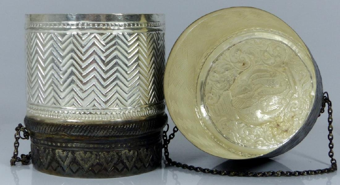 FINE THAI HAND CHASED SILVER COVERED BOX - 3