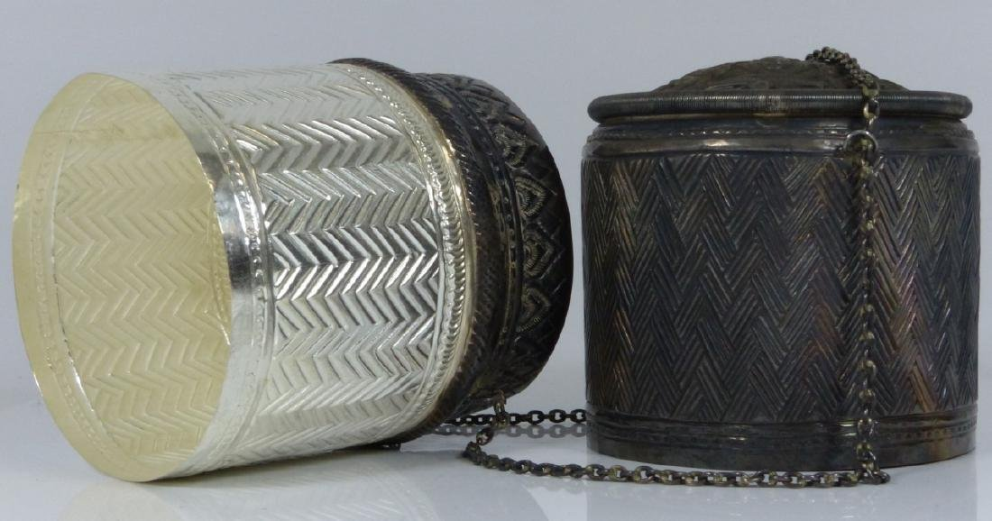 FINE THAI HAND CHASED SILVER COVERED BOX - 4
