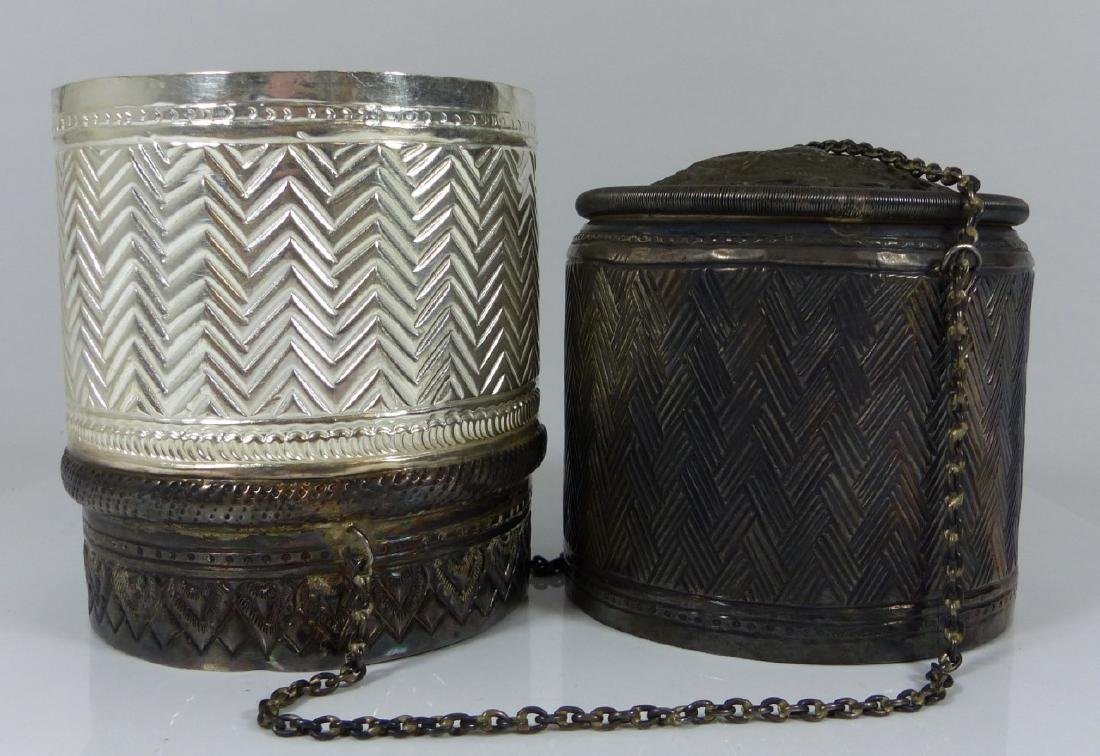 FINE THAI HAND CHASED SILVER COVERED BOX - 5