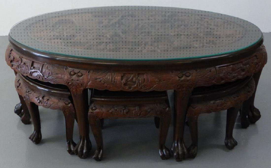 CHINESE CARVED LOW TABLE w 6 STOOLS