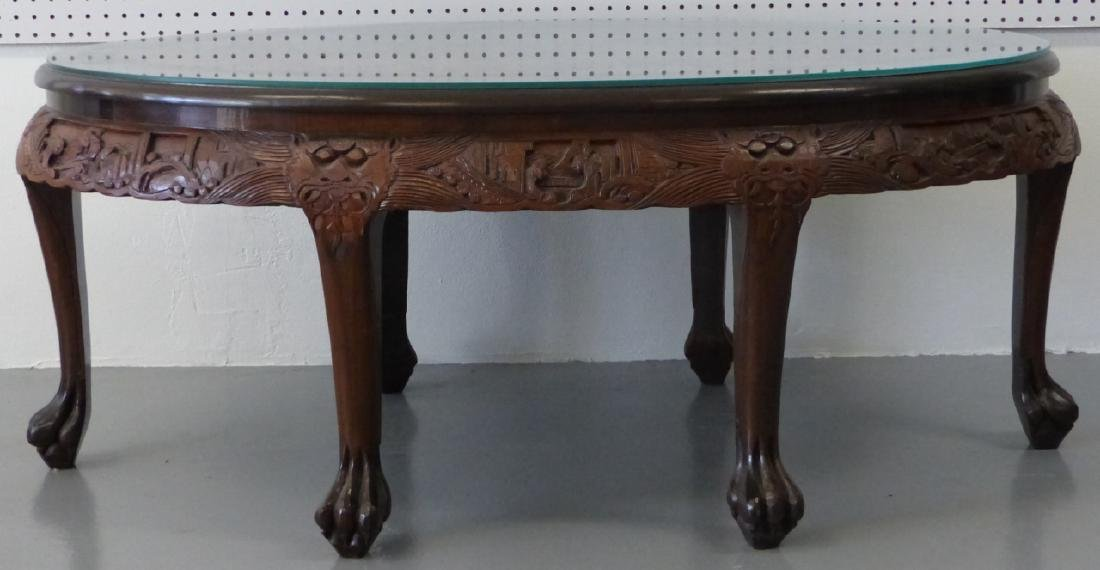 CHINESE CARVED LOW TABLE w 6 STOOLS - 2