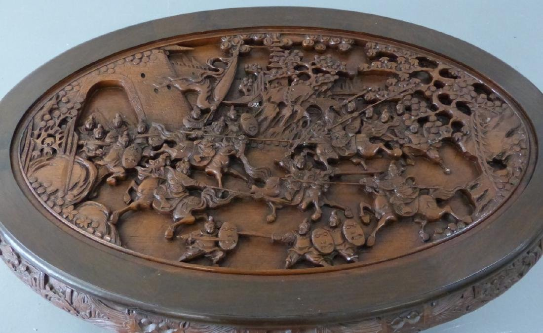 CHINESE CARVED LOW TABLE w 6 STOOLS - 3