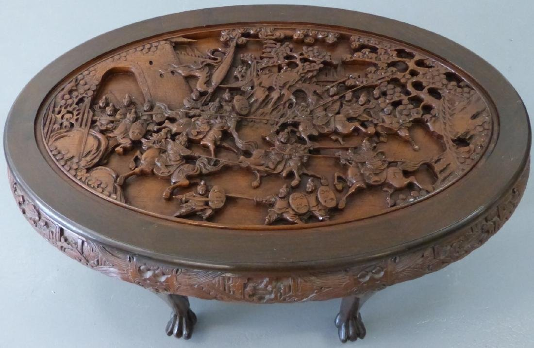 CHINESE CARVED LOW TABLE w 6 STOOLS - 6