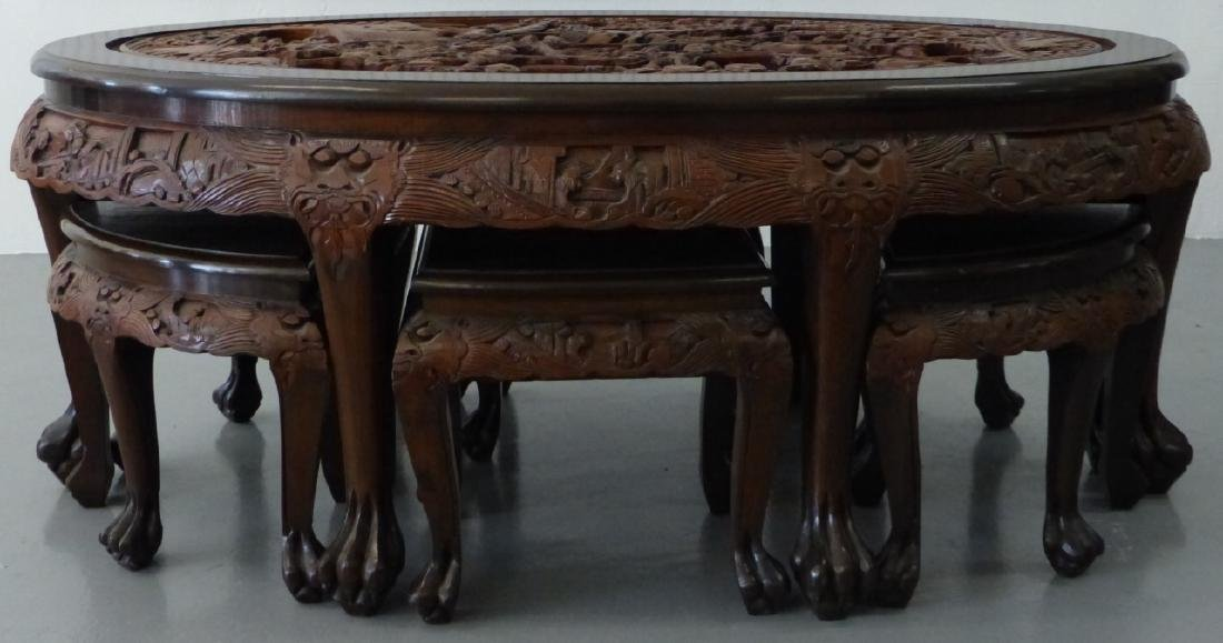 CHINESE CARVED LOW TABLE w 6 STOOLS - 7