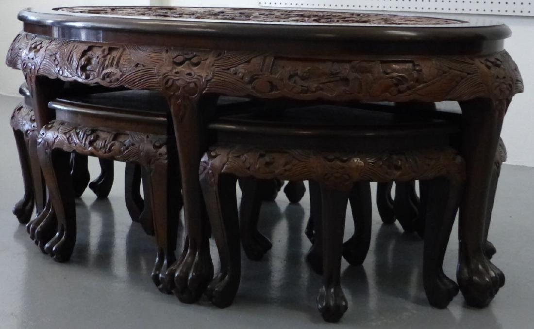 CHINESE CARVED LOW TABLE w 6 STOOLS - 8