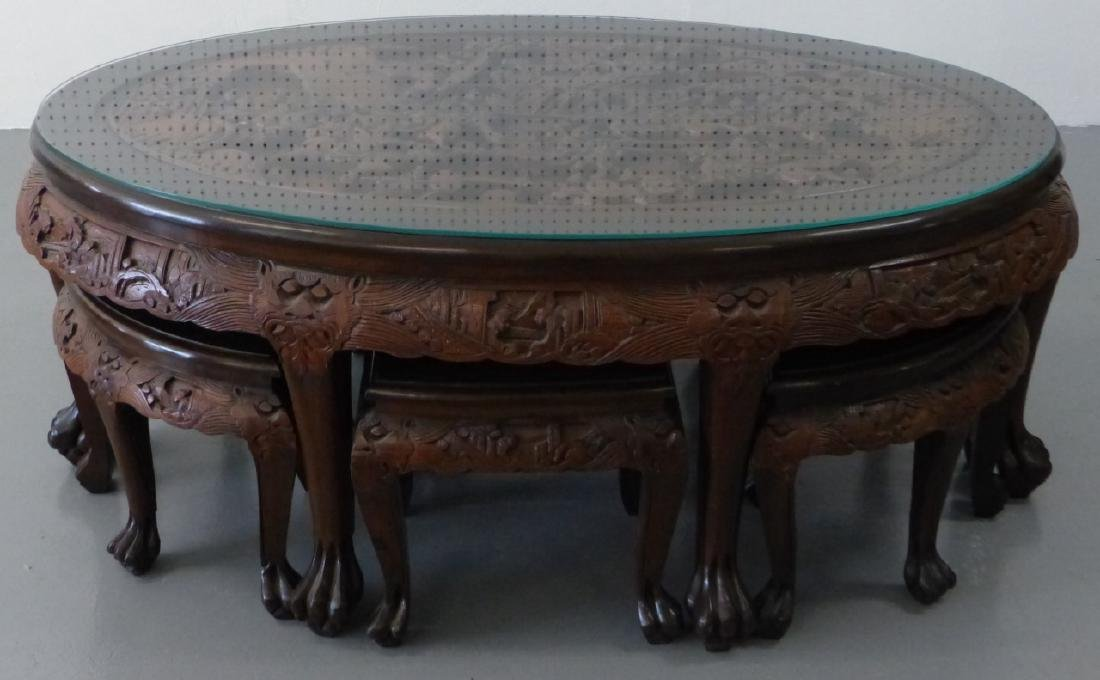 CHINESE CARVED LOW TABLE w 6 STOOLS - 9