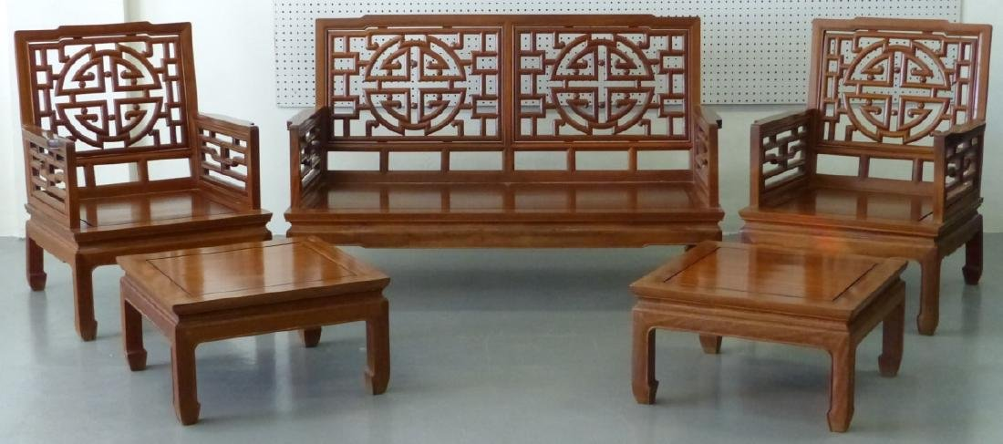 5pc CHINESE CARVED HARDWOOD CHAIRS, BENCH & TABLES