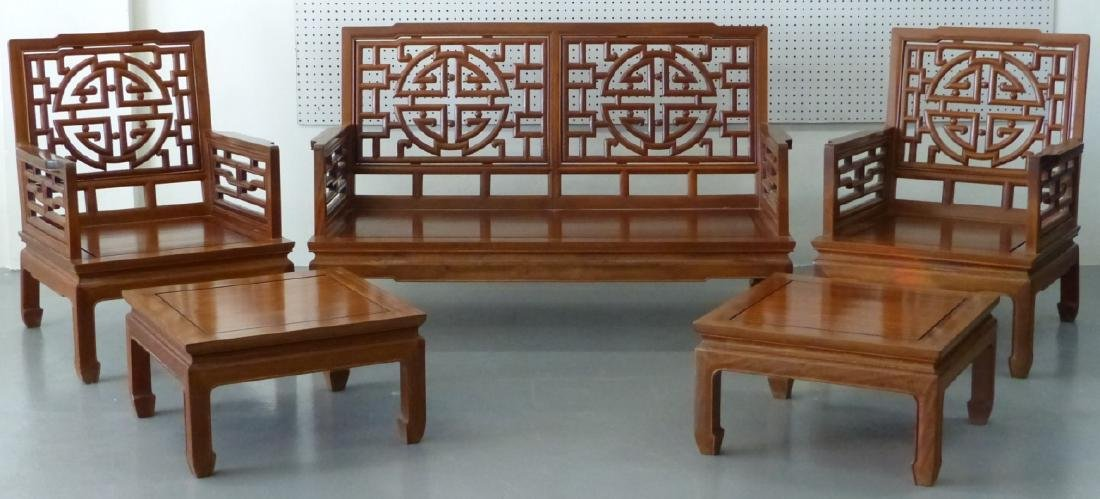 5pc CHINESE CARVED HARDWOOD CHAIRS, BENCH & TABLES - 2