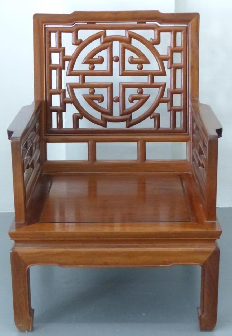5pc CHINESE CARVED HARDWOOD CHAIRS, BENCH & TABLES - 3