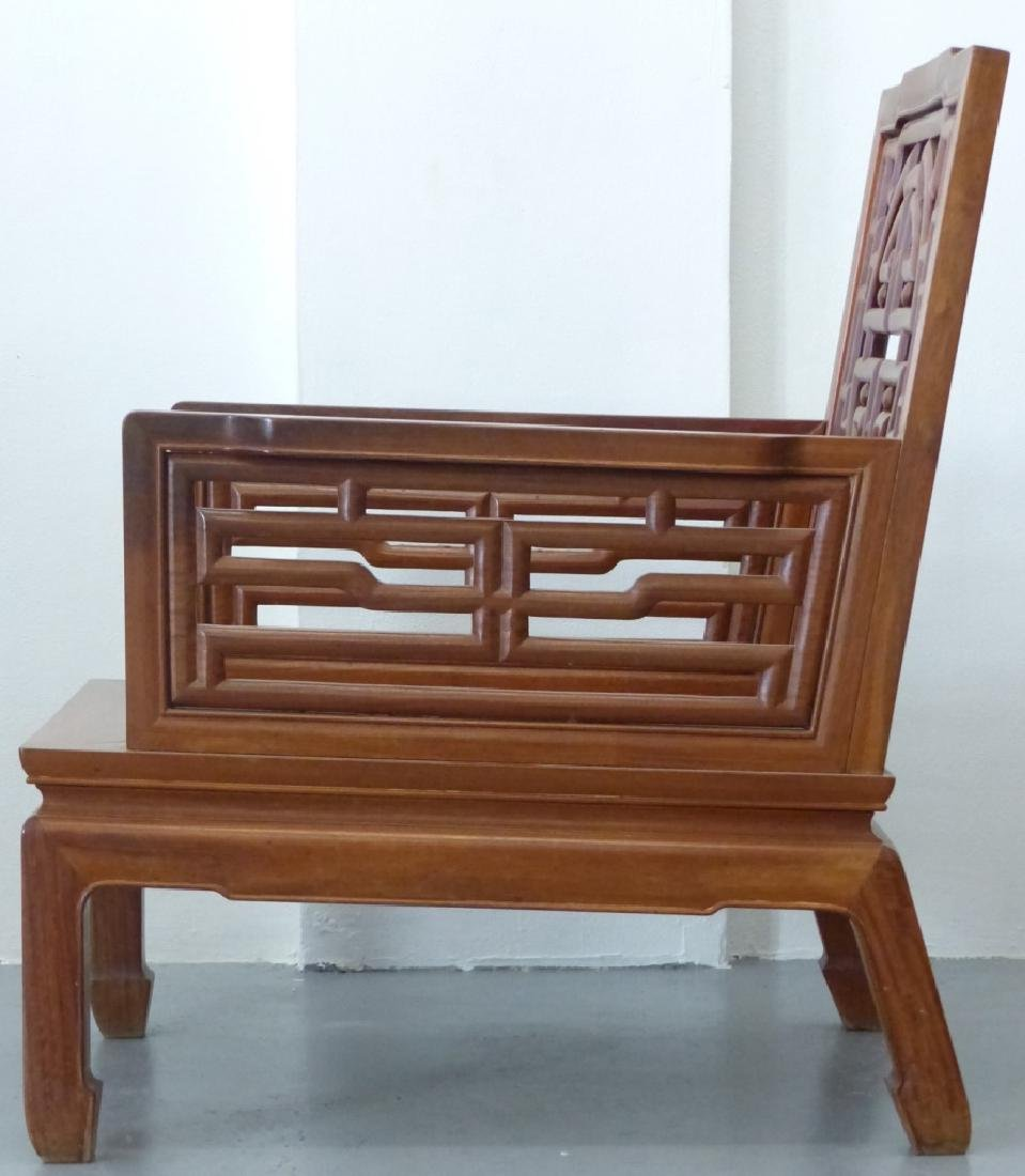 5pc CHINESE CARVED HARDWOOD CHAIRS, BENCH & TABLES - 5
