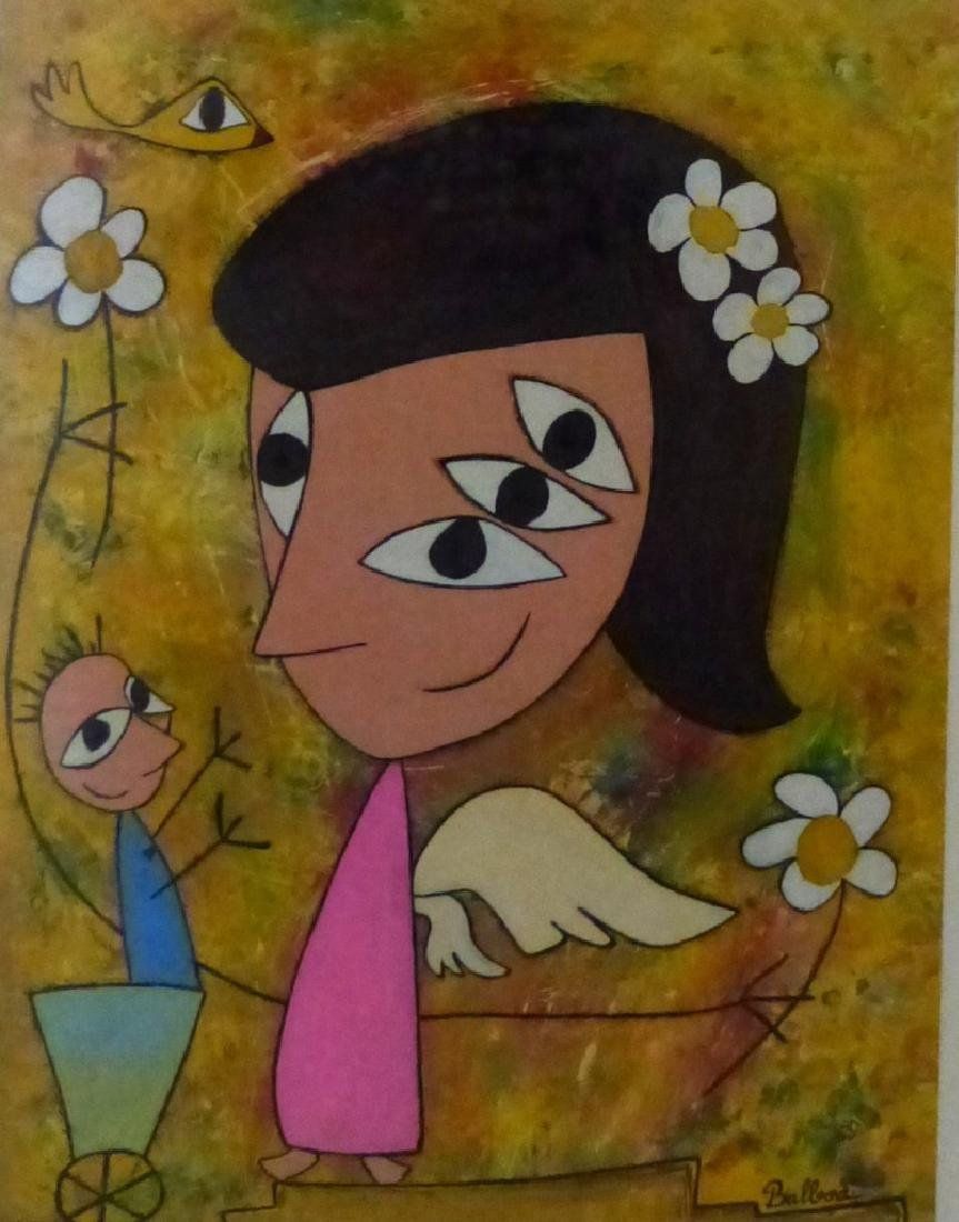MODERN ABSTRACT OIL PAINTING OF ANGEL SIGNED - 2