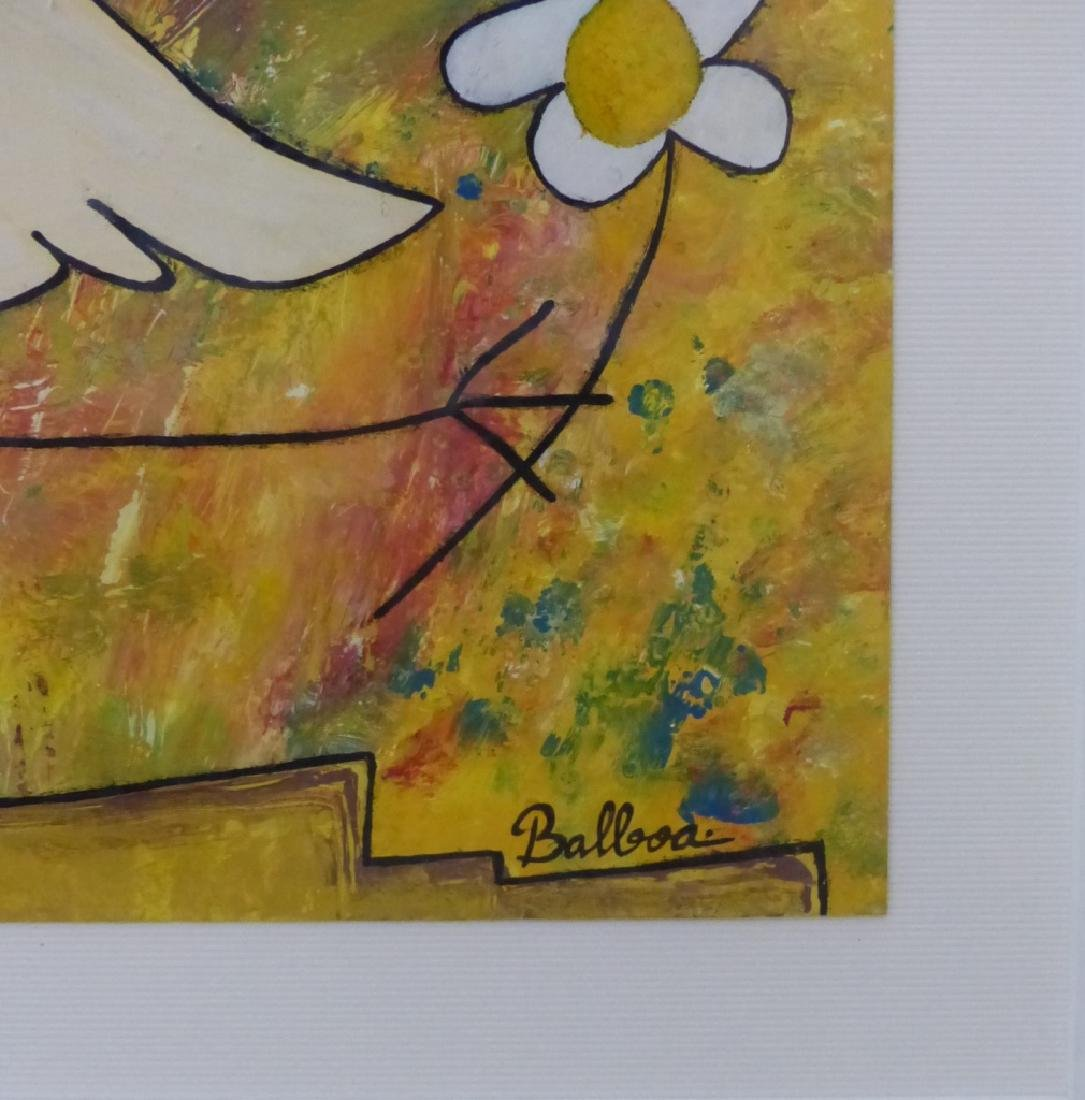 MODERN ABSTRACT OIL PAINTING OF ANGEL SIGNED - 3