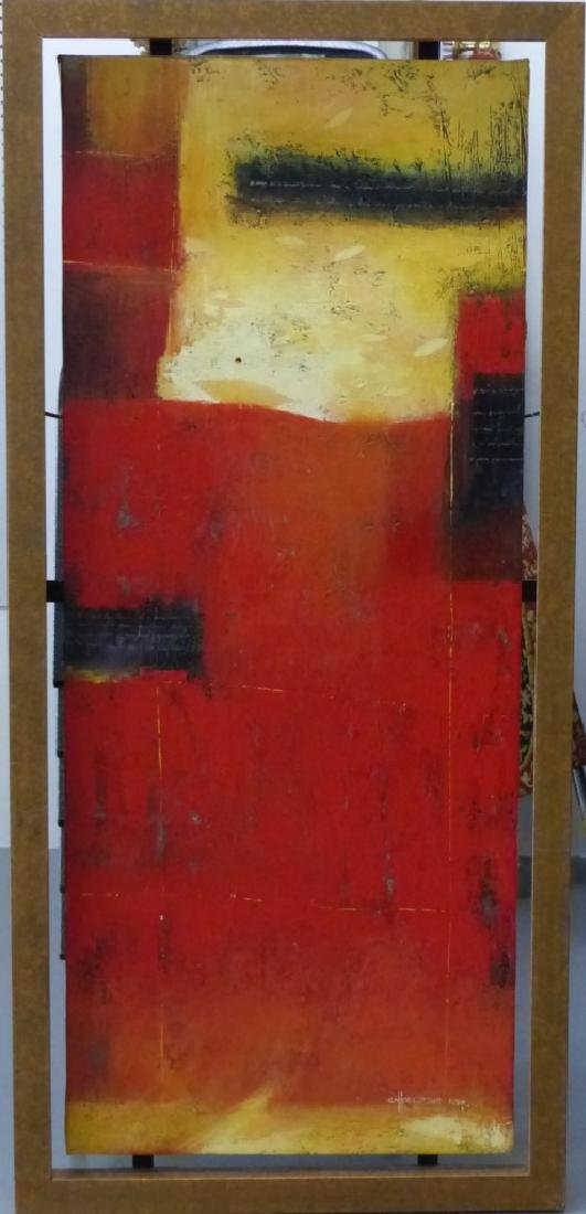 ABSTRACT OIL PAINTING ON CANVAS SIGNED