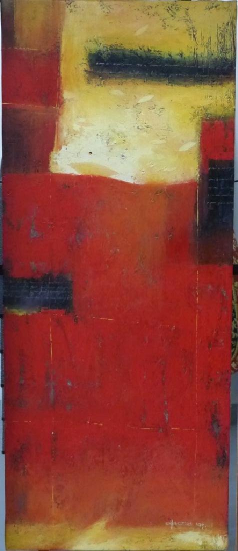 ABSTRACT OIL PAINTING ON CANVAS SIGNED - 2
